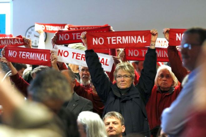 PORTLAND TRIBUNE: JONATHAN HOUSE - Protesters came out in force against the proposed project at the Port of Portland during the Planning and Sustainabiltiy hearings on it.