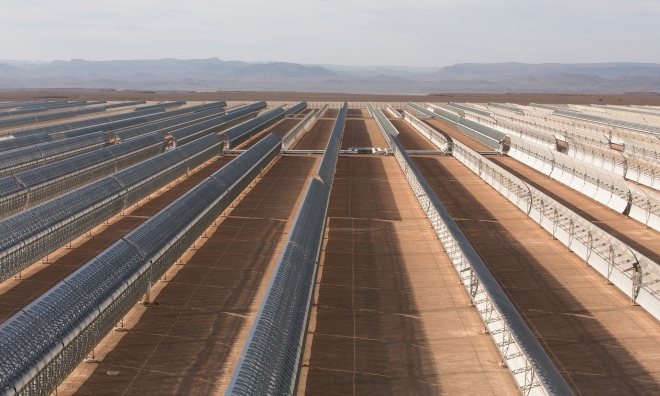 The Ouarzazate project in Morocco aims to create 2,000 megawatts of solar generation capacity by the year 2020 and provide 38% of the country's annual electricity generation. Photograph: Graeme Robertson for the Guardian